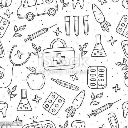 Seamless pattern of medical items in doodle style. Outline doodle illustration isolated on background.