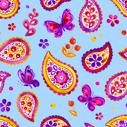 Seamless pattern of paisley and butterflies