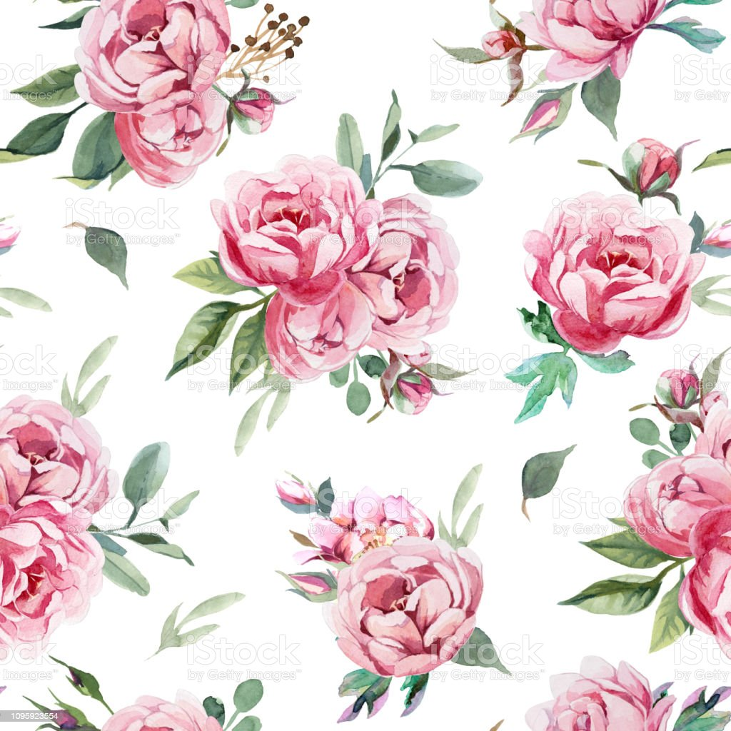Seamless Pattern Of Peony And Blosom Flowers On White Background