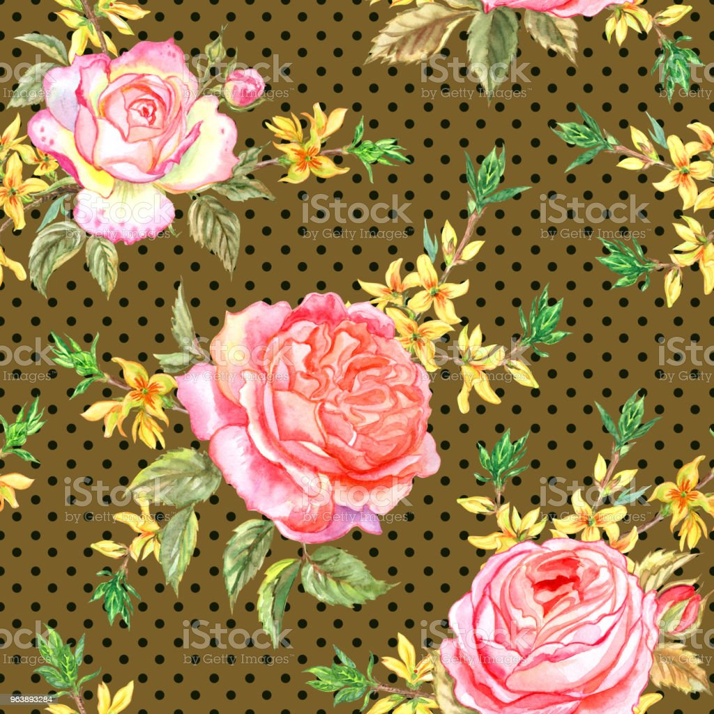 Seamless Pattern Of Pink Roses And Sprigs Of Forsythia Stock