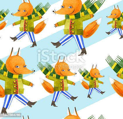 istock Seamless pattern of red Fox on a striped background. Cute cartoon animals. Hand-drawn watercolor illustrations on a blue and white background. For postcards, packaging, textiles, prints, wallpaper. 1305964785