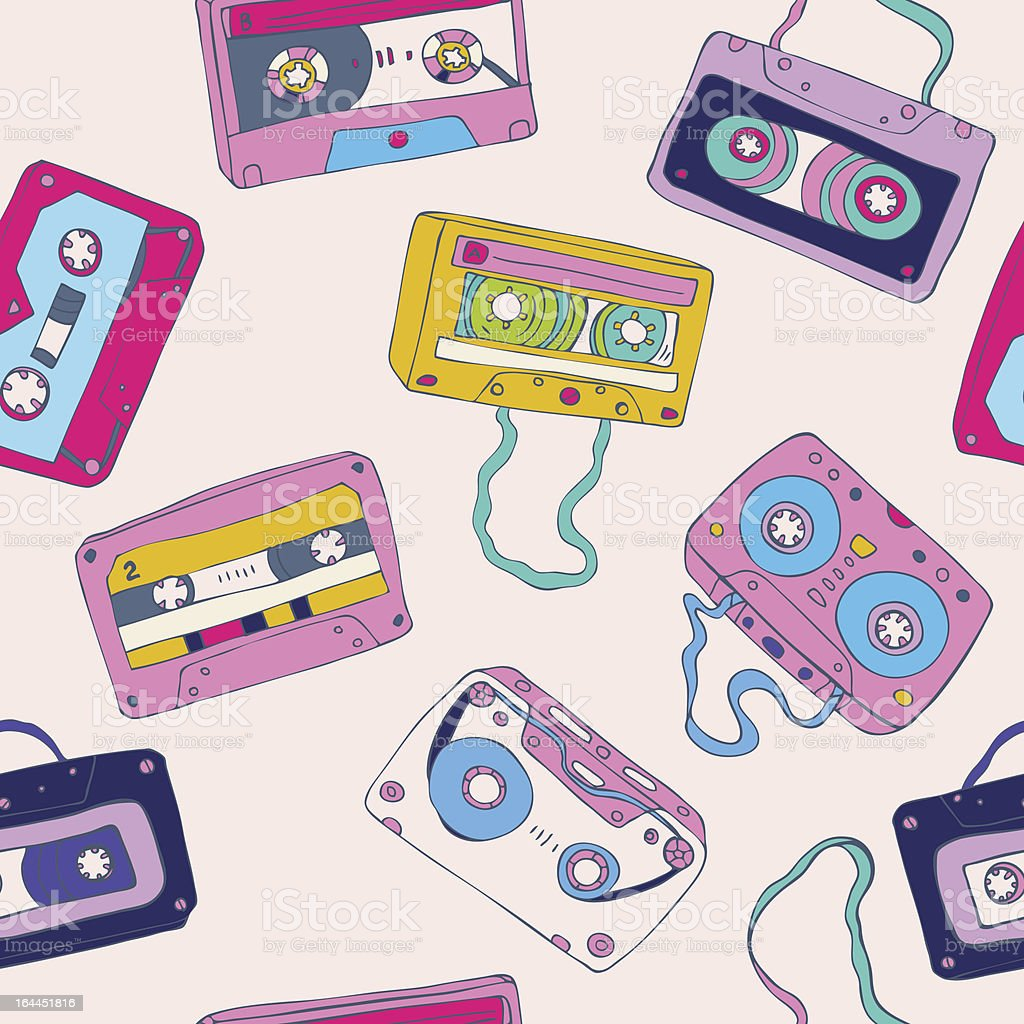 Seamless pattern of retro cassette tapes royalty-free seamless pattern of retro cassette tapes stock vector art & more images of 1980