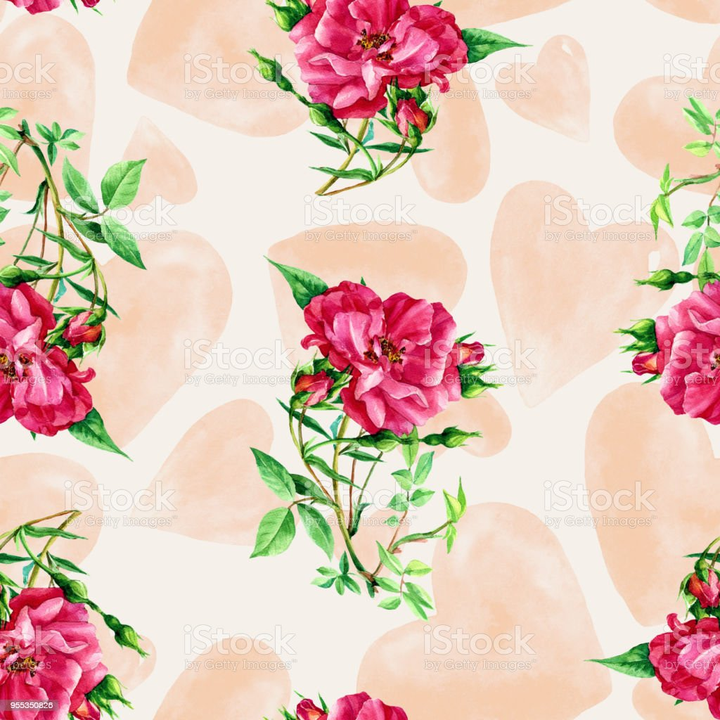 Seamless Pattern Of Roses And Hearts Painted In Watercolor