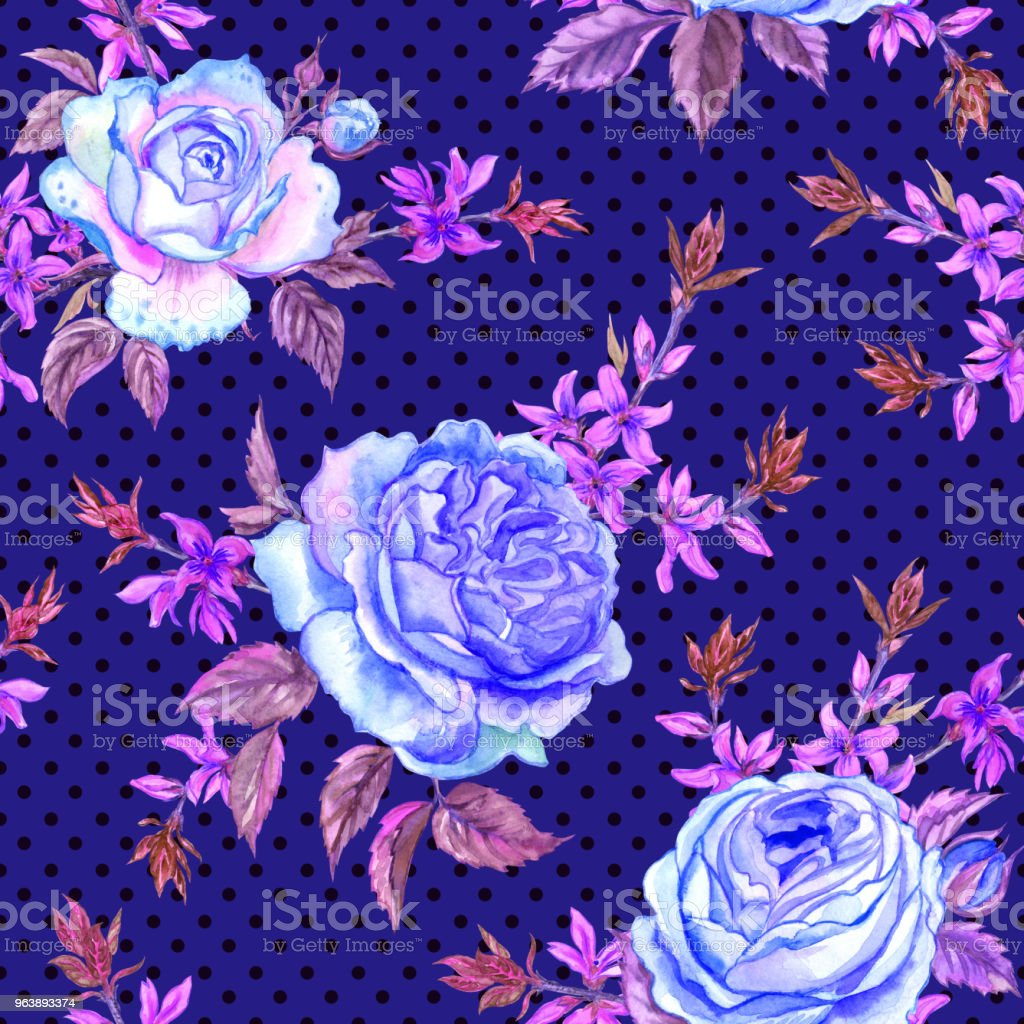 Seamless pattern of roses - Royalty-free Art stock illustration