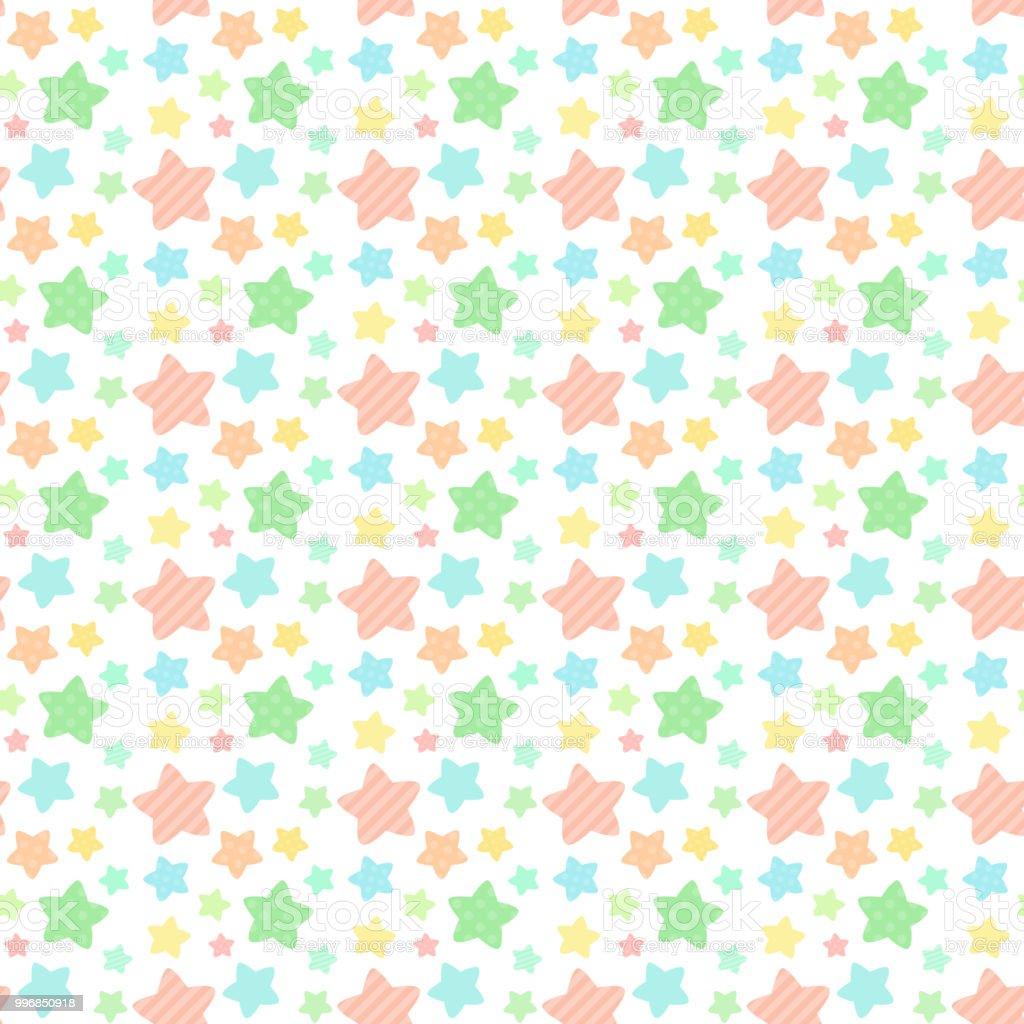 Seamless pattern of star pattern of vitamin color vector art illustration