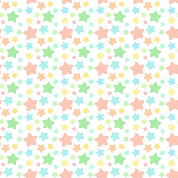 ビタミン カラーの星のパターンのシームレス パターン ベクターアートイラスト