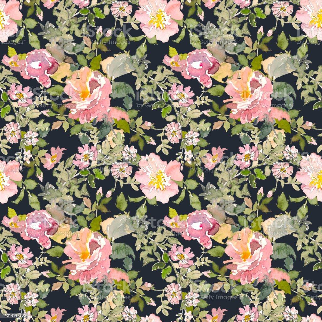 Seamless Pattern Of Summer Garden Yellow And Pink Rose Flower