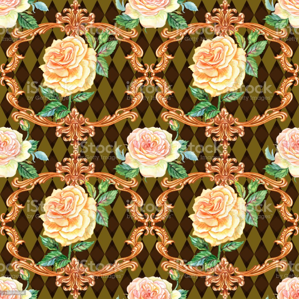 Seamless Pattern Of Tea Roses Stock Vector Art & More Images of ...