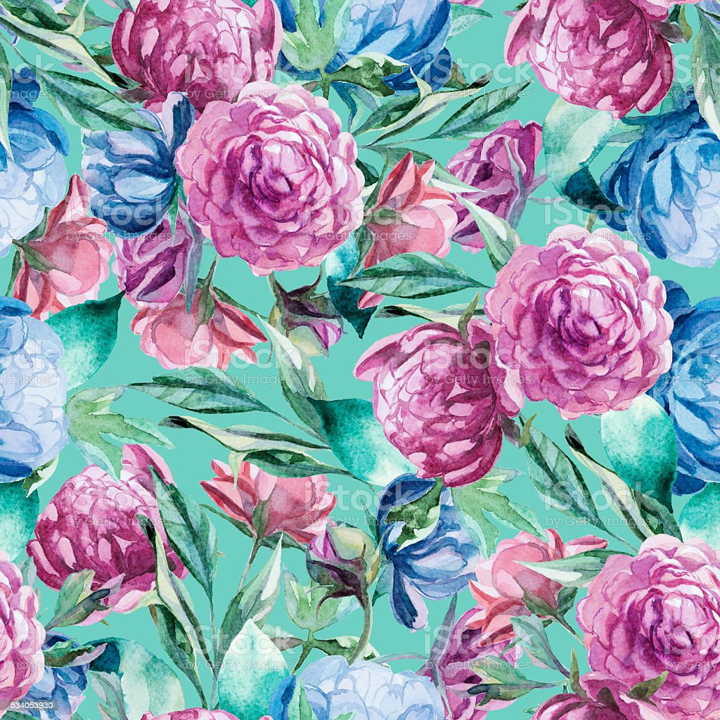 Seamless pattern of watercolor blue and red peonies and leaves vector art illustration