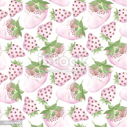 istock Seamless pattern of watercolor illustrations, strawberries with chocolate unicorn design 1324324330