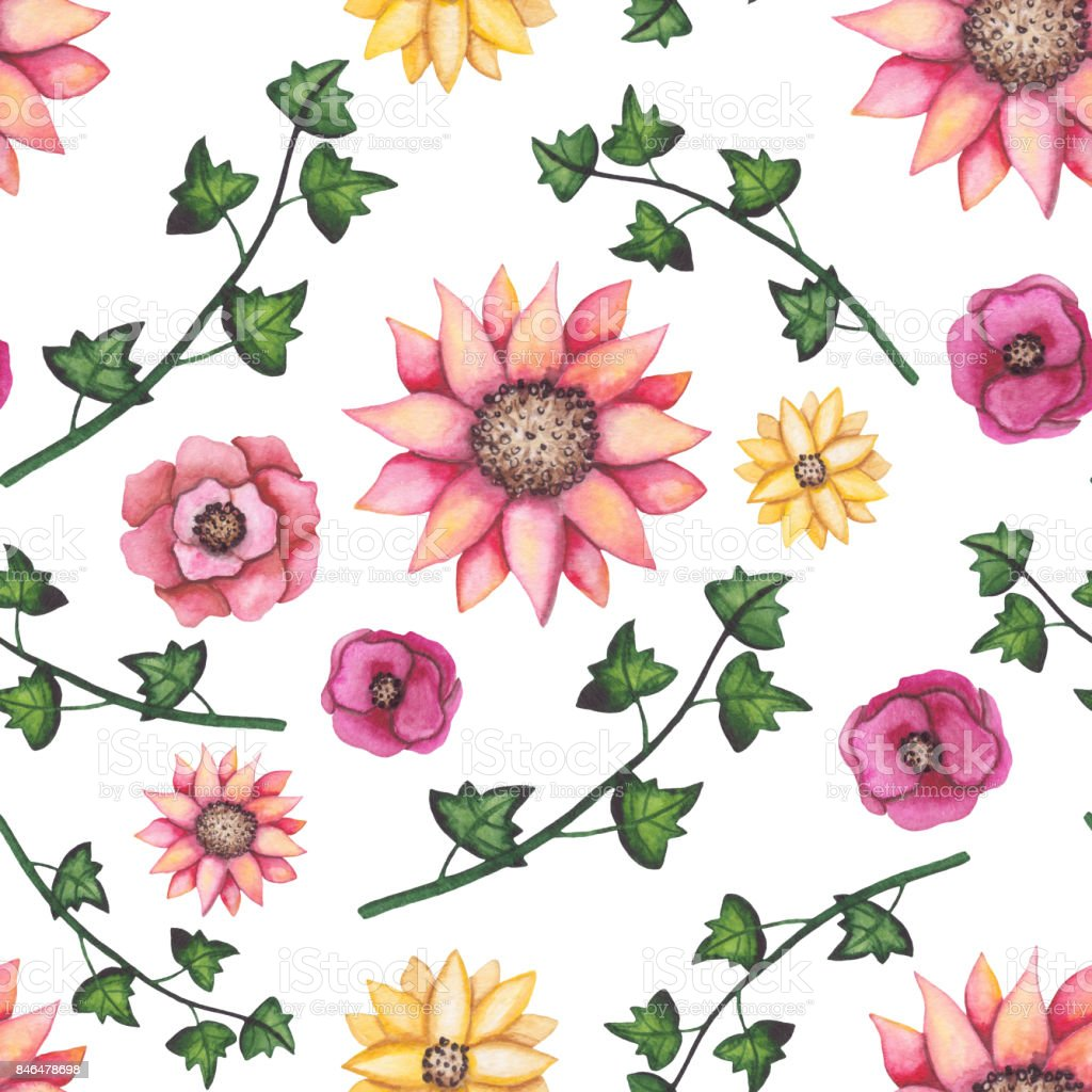 Seamless Pattern Of Watercolor Ivy Pink And Yellow Flowers Stock