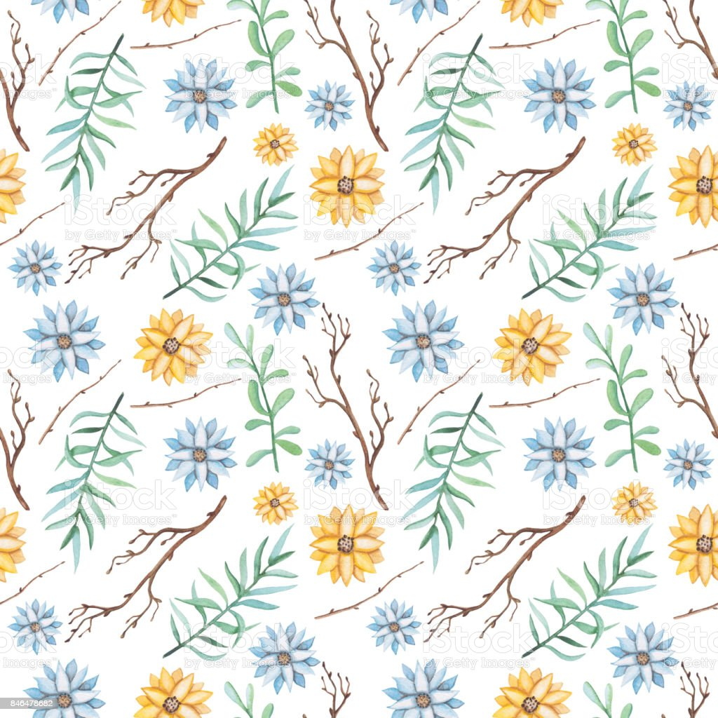 Seamless Pattern Of Watercolor Light Blue And Yellow Flowers Stock