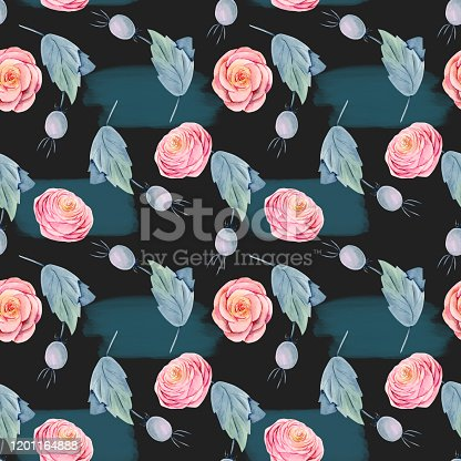 Seamless pattern of watercolor pink beautiful roses and briar berries, hand painted on dark background with abstract shapes
