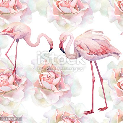 istock Seamless pattern of watercolor pink roses and flamingos 1269271271
