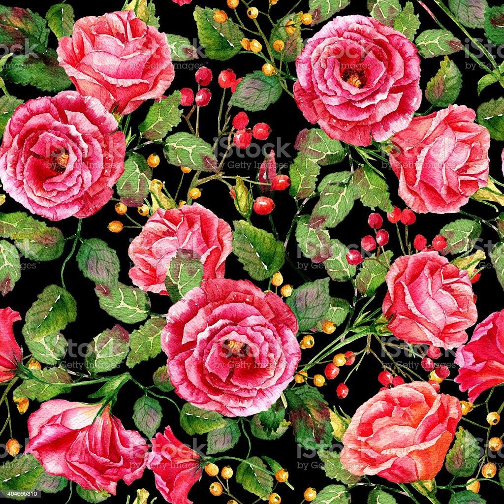 Acquerello Seamless Pattern Di Rose Rosse Su Sfondo Nero Immagini