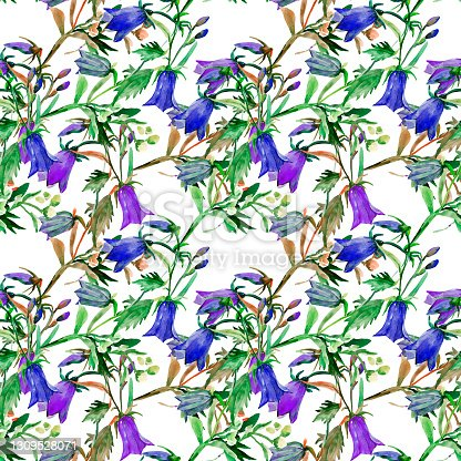 istock Seamless pattern of watercolor wildflowers 1309528071