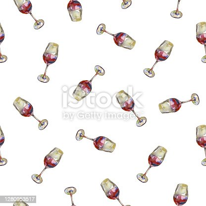 istock Seamless pattern of wineglasses with red wine on a white background. Watercolour painting. 1280953517