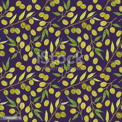 Seamless pattern, olives on a dark background.