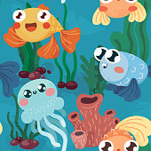 istock Seamless pattern on the marine theme. Cute print with sea inhabitants: fish and jellyfish. Vector. 1322365367