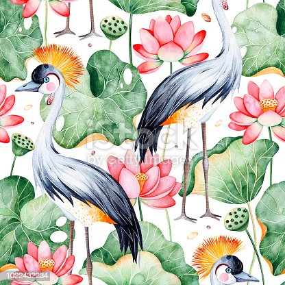Lotus watercolor texture. Seamless pattern on white background with water lilies and black crowned crane.Perfect for your project,wedding,packaging,wallpaper,cover design,packaging,print etc