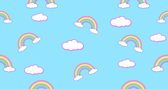 seamless pattern rainbow and clouds kawaii wallpaper background cute illustration id1220545071?k=6&m=1220545071&s=170667a&w=0&h=z6qpQZLV9OouiOgm5RNSR  MjOPPq6HgcmA2PBzbcZ8=