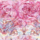 Seamless pattern roses flowers, peonies, handmade watercolor, for fabrics, wrapping paper and other design tasks