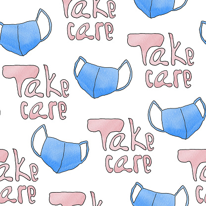 Seamless pattern take care and mask in watercolor, lines.