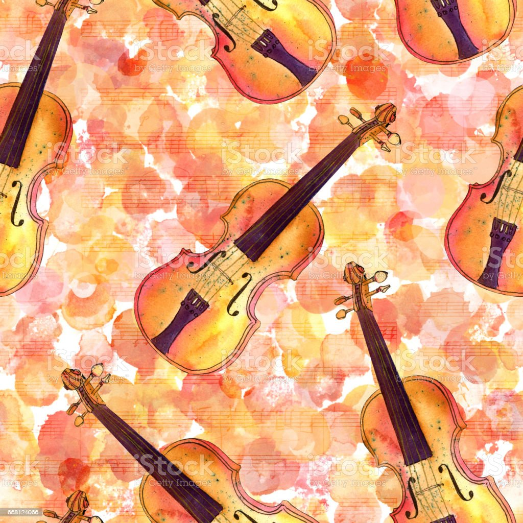 Great Wallpaper Music Watercolor - seamless-pattern-violins-on-watercolor-texture-sheet-music-illustration-id668124066  Pic_705975.com/illustrations/seamless-pattern-violins-on-watercolor-texture-sheet-music-illustration-id668124066