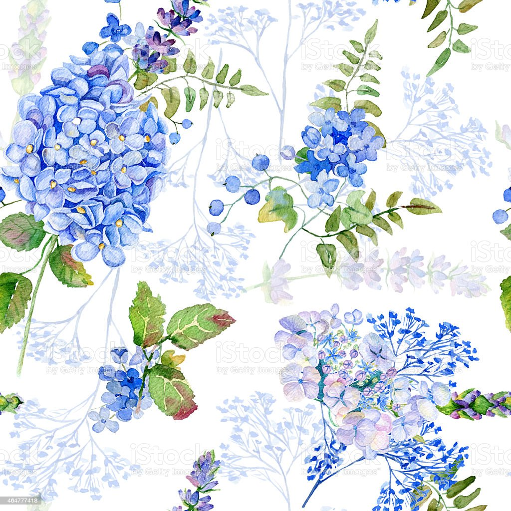 Seamless pattern. Watercolor blue hydrangea, lavender, currant. vector art illustration