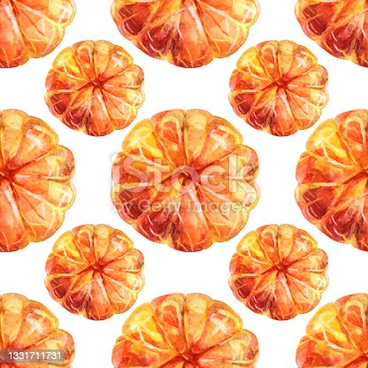 istock Seamless pattern watercolor citrus fruit orange peeled tangerine on white background. Hand-drawn food for winter or summer, christmas object for menu, wrapping, wallpaper, notebook 1331711731