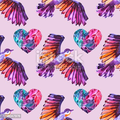 istock Seamless pattern watercolor flying purple, pink, orange abstract bird and heart background. Hand-drawn art creative animal object for card 1298047976