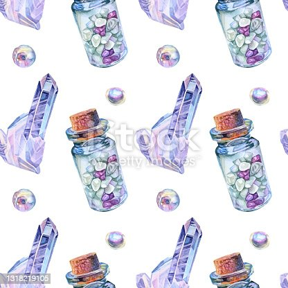 istock Seamless pattern watercolor meditation glass bottle with cork, gemstone crystal, bead pearl on white background. Hand-drawn object for yoga, card, office stationery, sketchbook, wallpaper 1318219105