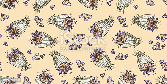 istock Seamless pattern Wedding celebration in line art style on beige Background. doodle drawn with felt pen. Bouquet of flowers and heart symbol of illustrations for congratulations on the Wedding day. 1324890893