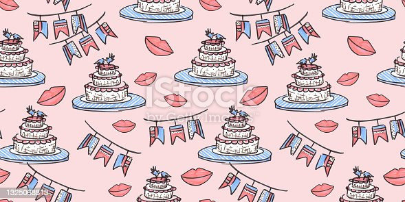 istock Seamless pattern Wedding celebration in line art style on white Background. doodle drawn with felt pen. Cake, lips and checkbox of illustrations for congratulations on the Wedding day. 1325068813