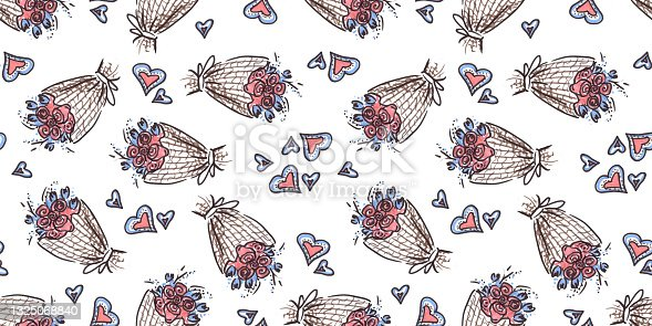 istock Seamless pattern Wedding celebration in line art style on white Background. doodle drawn with felt pen. Bouquet of flowers and heart symbol of illustrations for congratulations on the Wedding day. 1325068840