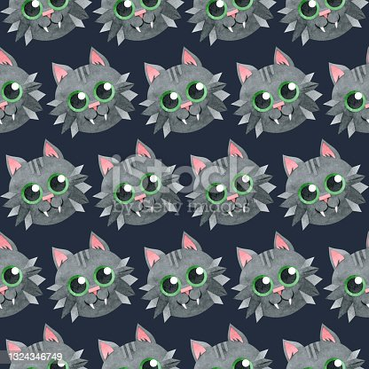 istock Seamless pattern with a black vampire cat. Halloween background. Cat face with a smile. Creative children's texture. Watercolor hand-drawn illustrations on a blue background. For textiles, packaging. 1324346749