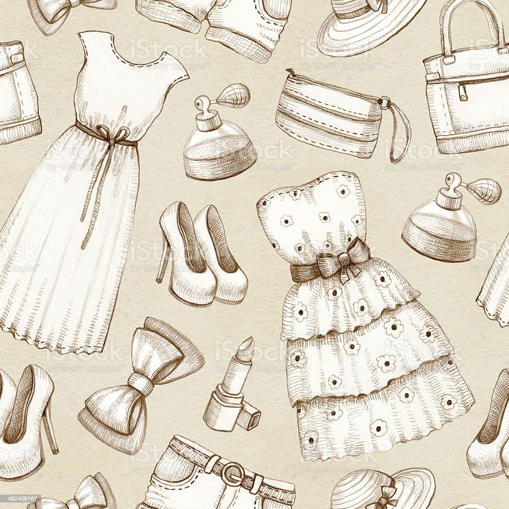 Ilustración de Patrón Sin Costuras De Dibujos De Vestidos Y ...
