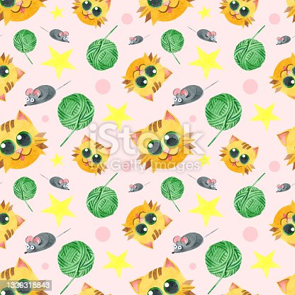 istock Seamless pattern with a funny cat, a ball of thread, a gray mouse. Creative children's texture. Watercolor illustrations on a pink background. For fabric, textiles, websites, wallpaper, packaging. 1329318843