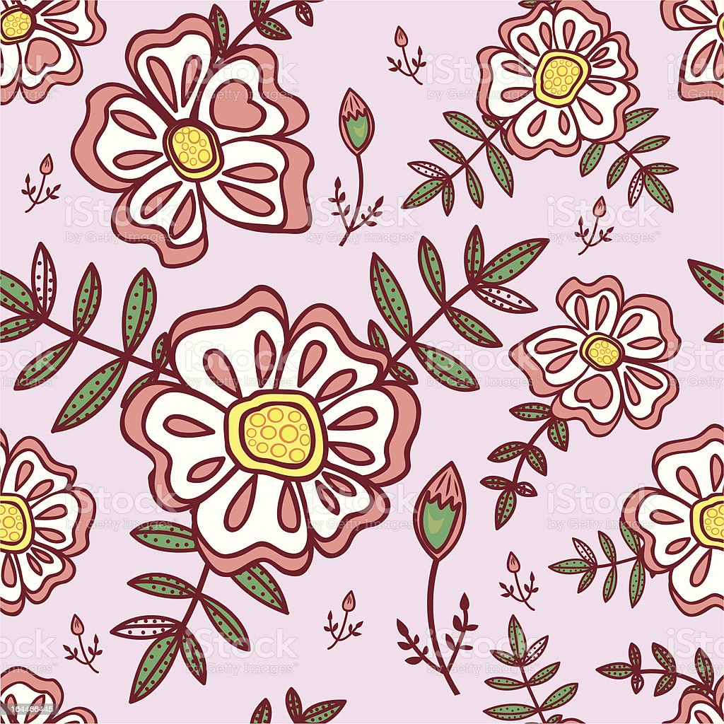 Seamless pattern with abstract flowers royalty-free stock vector art