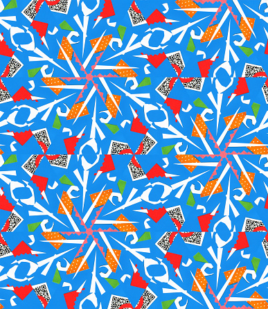 Seamless pattern with abstract paper-cut motifs like snowflakes or flowers in red, blue, orange