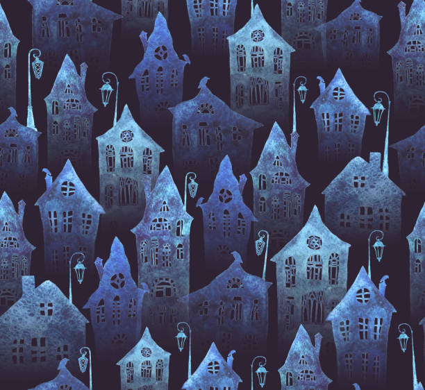 Seamless pattern with an old city in the night. Crooked houses and lanterns painted in watercolor. Halloween night. Seamless pattern with an old city in the night. Crooked houses and lanterns painted in watercolor. Halloween night. spooky halloween town stock illustrations