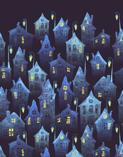 Seamless pattern with an old city in the night. Crooked houses with lit windows and lanterns painted in watercolor. Halloween night. Seamless pattern with an old city in the night. Crooked houses with lit windows and lanterns painted in watercolor. Halloween night. spooky halloween town stock illustrations