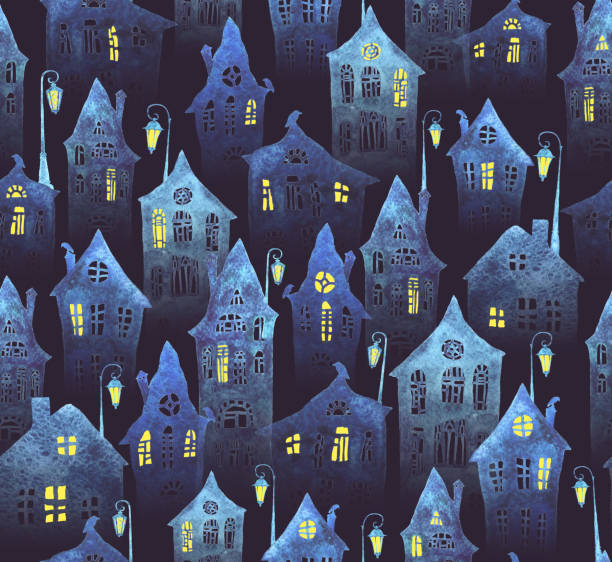 Seamless pattern with an old city in the night. Crooked houses with lit windows and lanterns painted in watercolor. Seamless pattern with an old city in the night. Crooked houses with lit windows and lanterns painted in watercolor. Halloween night. spooky halloween town stock illustrations
