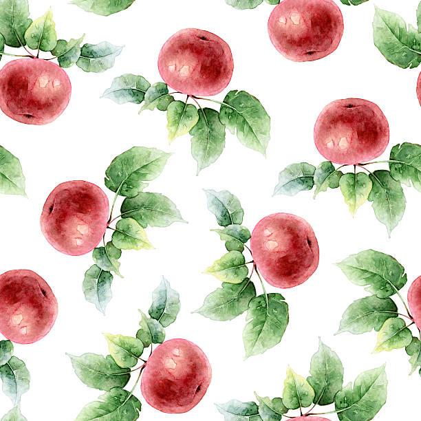 illustrazioni stock, clip art, cartoni animati e icone di tendenza di seamless pattern con mele - mika