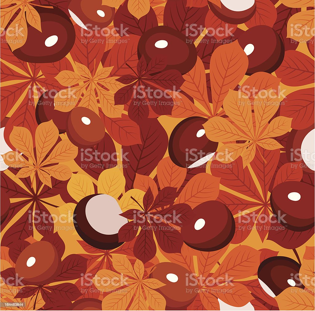 Seamless pattern with autumn chestnut leaves and chestnuts. Vector illustration. royalty-free seamless pattern with autumn chestnut leaves and chestnuts vector illustration stock vector art & more images of autumn