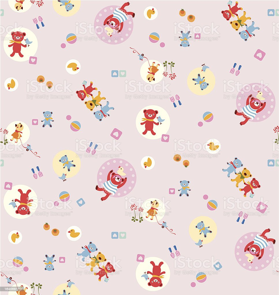 Seamless pattern with bears, toys and hearts. royalty-free seamless pattern with bears toys and hearts stock vector art & more images of backgrounds