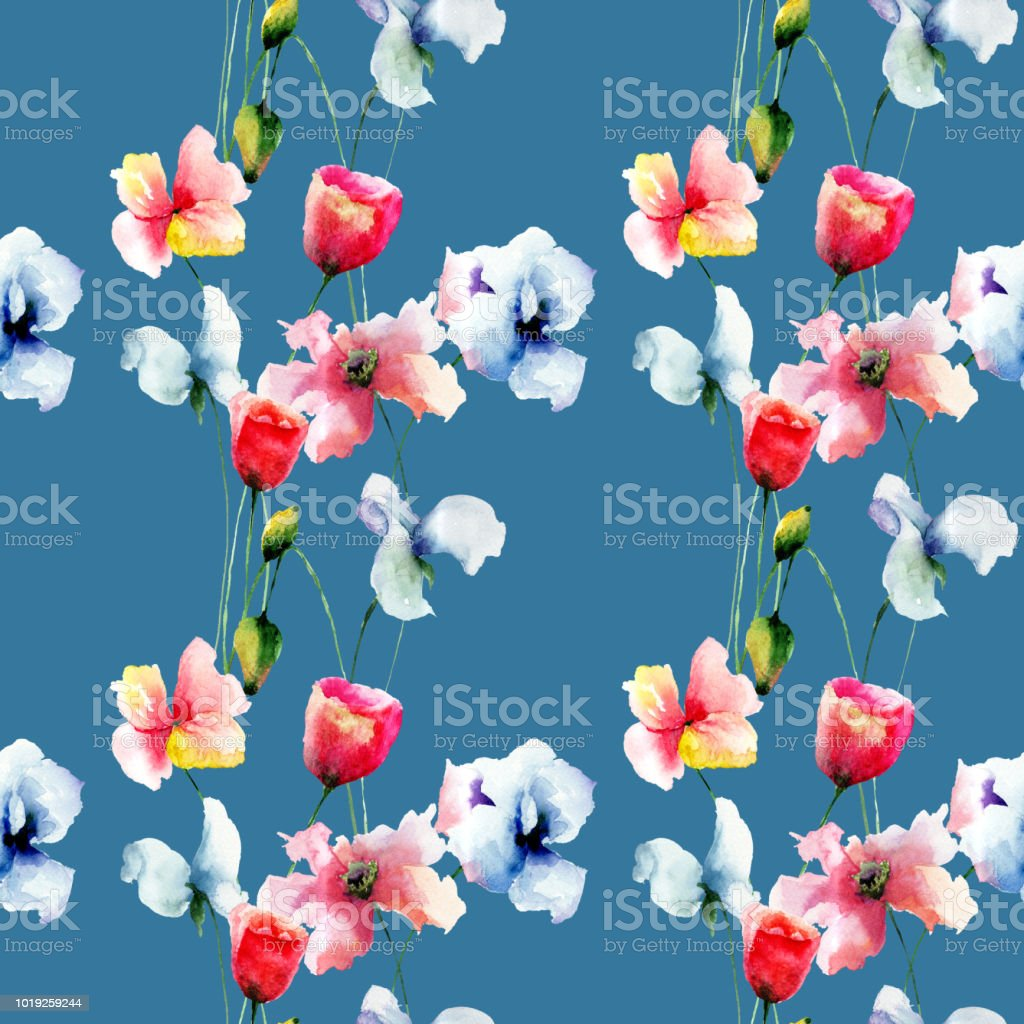Seamless pattern with beautiful flowers stock vector art more seamless pattern with beautiful flowers royalty free seamless pattern with beautiful flowers stock vector art izmirmasajfo