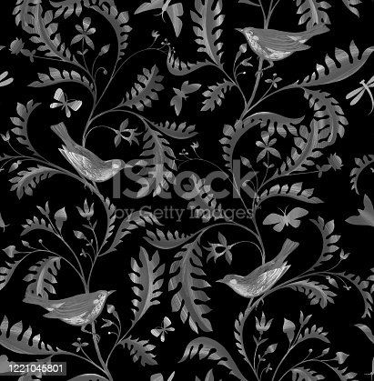 Seamless pattern with birds on branches. Hand drawn by color pencils realistic flora and fauna background