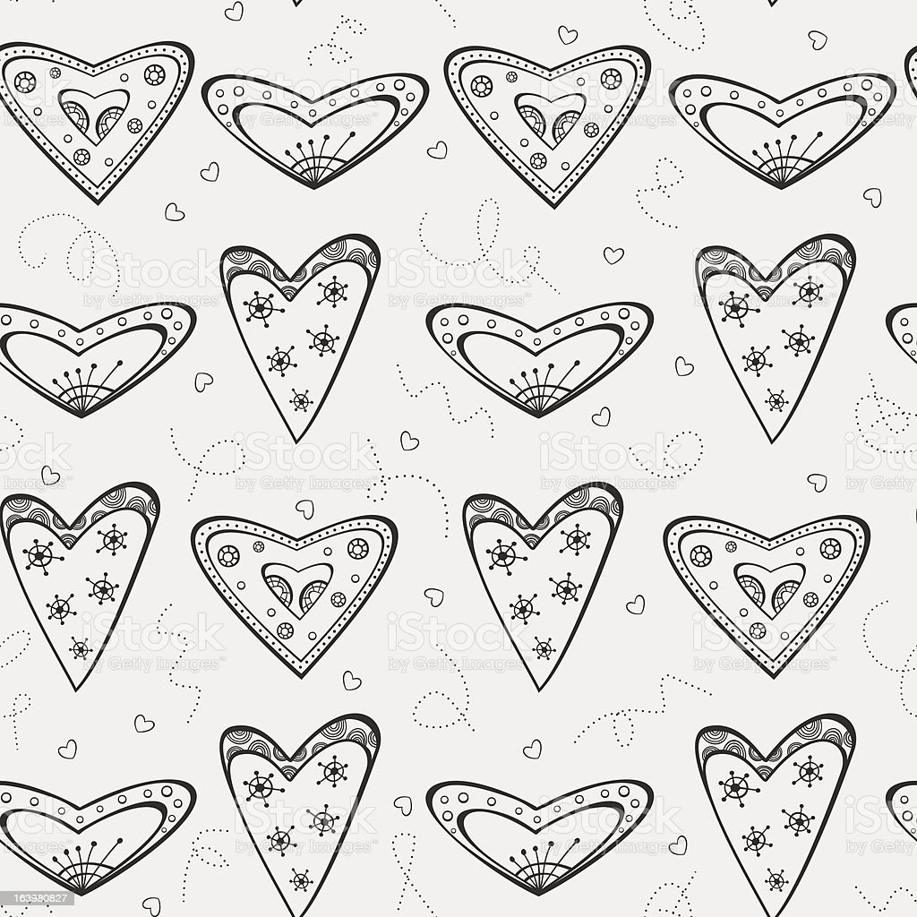 Seamless pattern with black hearts royalty-free stock vector art