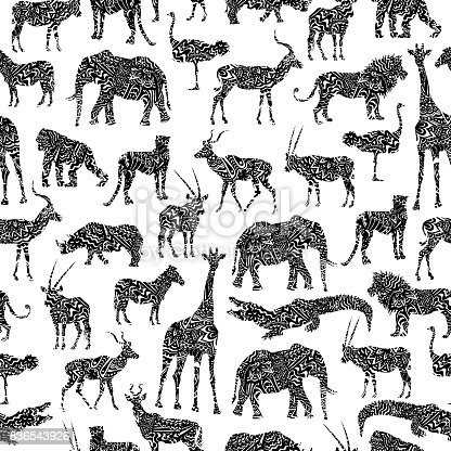 Seamless Pattern With Black Ornamental African Animals